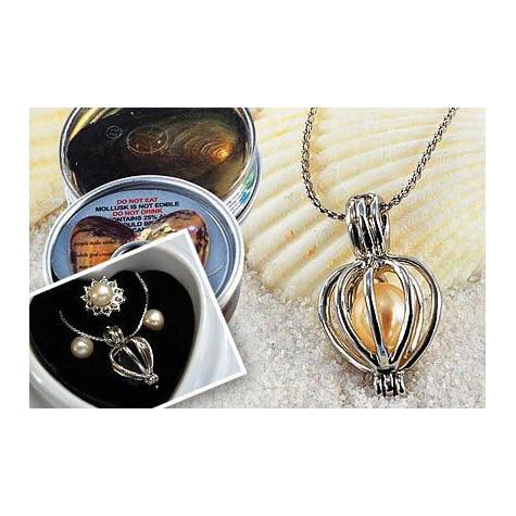 Perla přání v perlorodce - Naušnice a prstýnek