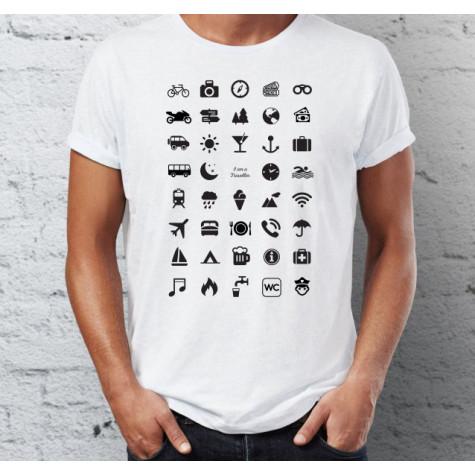 Cestovní tričko s ikonami - bílé