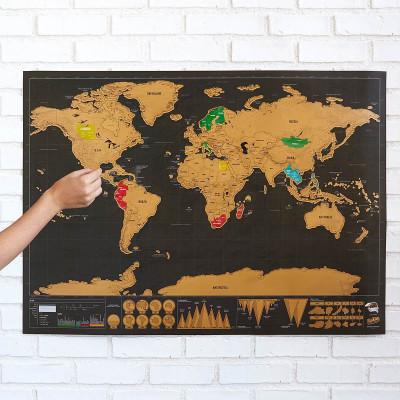 Stírací mapa deluxe - černá