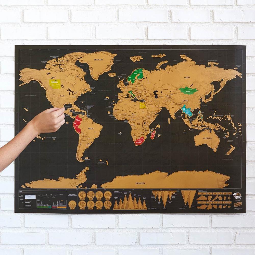 Stírací mapa světa - deluxe - černá