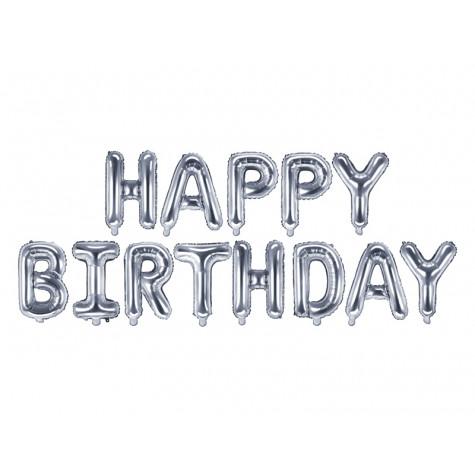 Nafukovací balónky - nápis Happy Birthday - stříbrné