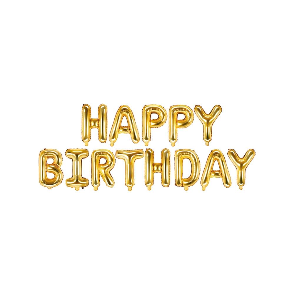 Nafukovací balónky - nápis Happy Birthday - zlaté
