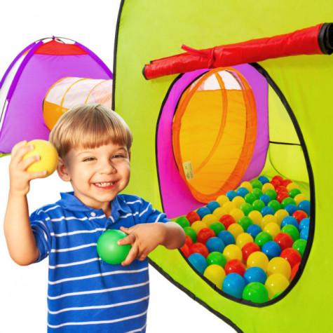 Dětský stan a hrací domeček s tunelem včetně 200 míčků