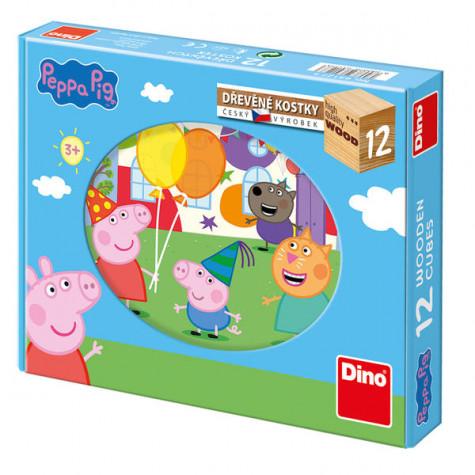 Dino Peppa Pig Prasátko Pepina dřevěné kostky 12 ks