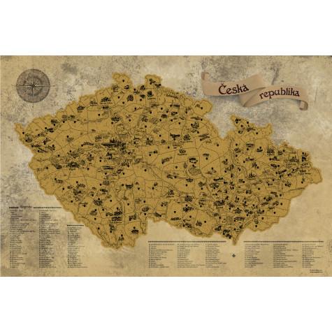 Stírací mapa Česka DELUXE XL - zlatá