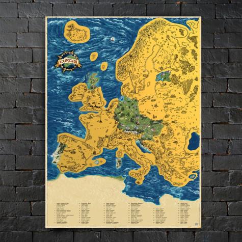 Stírací mapa Evropy DELUXE XL - zlatá