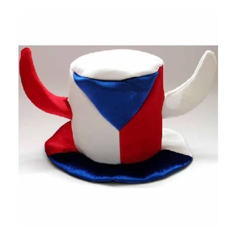 Fandící klobouk s rohama Česká vlajka