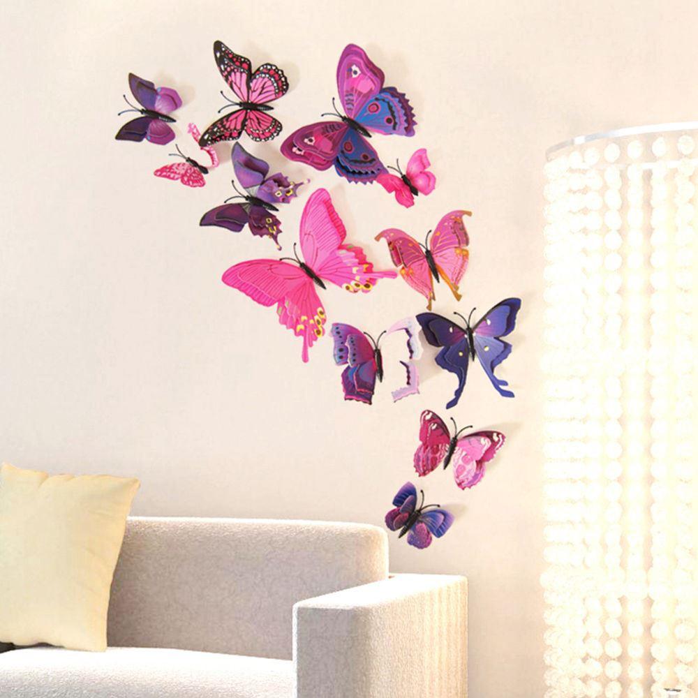 3D motýlci na zeď - fialová