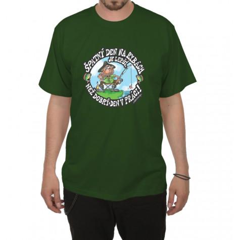 Tričko - Špatný den na rybách - zelené