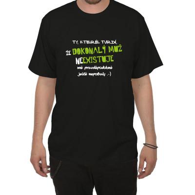 Tričko - Dokonalý muž neexistuje - černé