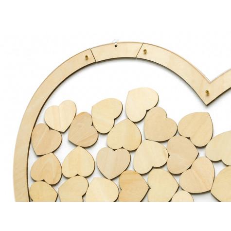 Dřevěná kniha hostů - srdce