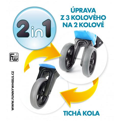 Funny Wheels odrážedlo New Sport 2v1 s gumovými koly - modré