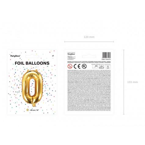Fóliový balónek 35 cm zlatý - číslo 0