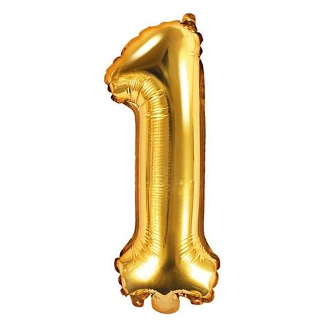 Fóliový balónek 35 cm zlatý - číslo 1