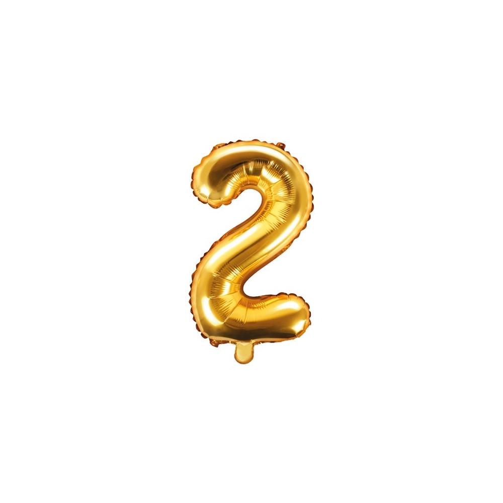 Fóliový balónek 35 cm zlatý - číslo 2