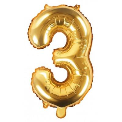 Fóliový balónek 35 cm zlatý - číslo 3