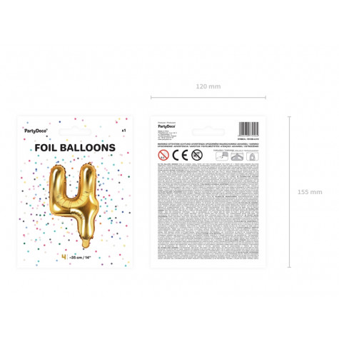 Fóliový balónek 35 cm zlatý - číslo 4