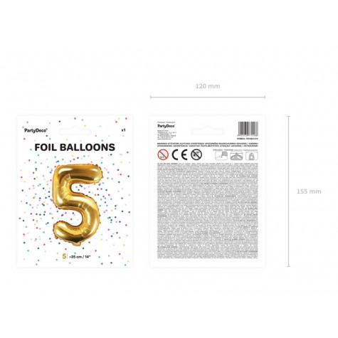 Fóliový balónek 35 cm zlatý - číslo 5
