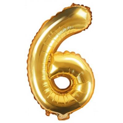 Fóliový balónek 35 cm zlatý - číslo 6