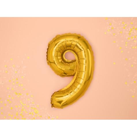 Fóliový balónek 35 cm zlatý - číslo 9