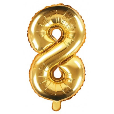 Fóliový balónek 35 cm zlatý - číslo 8