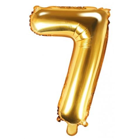 Fóliový balónek 35 cm zlatý - číslo 7