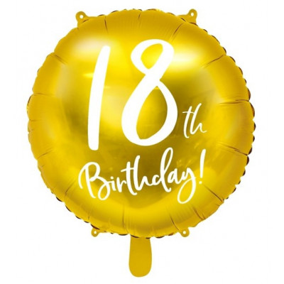 Foliový balónek zlatý - 18. narozeniny