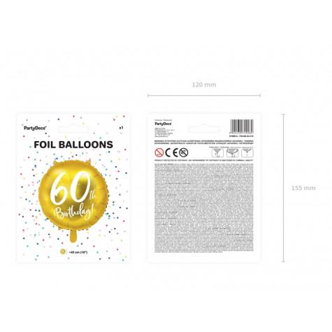 Foliový balónek zlatý - 60. narozeniny