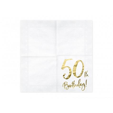 Narozeninové ubrousky - zlaté - 50