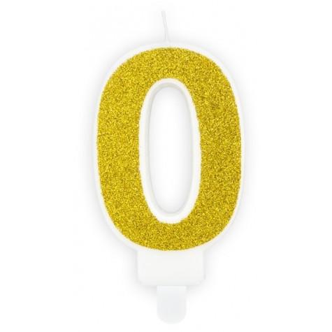 Narozeninová svíčka zlatá - číslo - 0