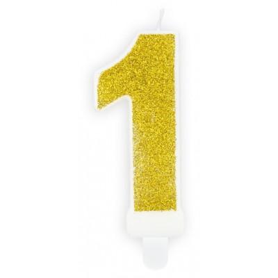 Narozeninová svíčka zlatá - číslo - 1