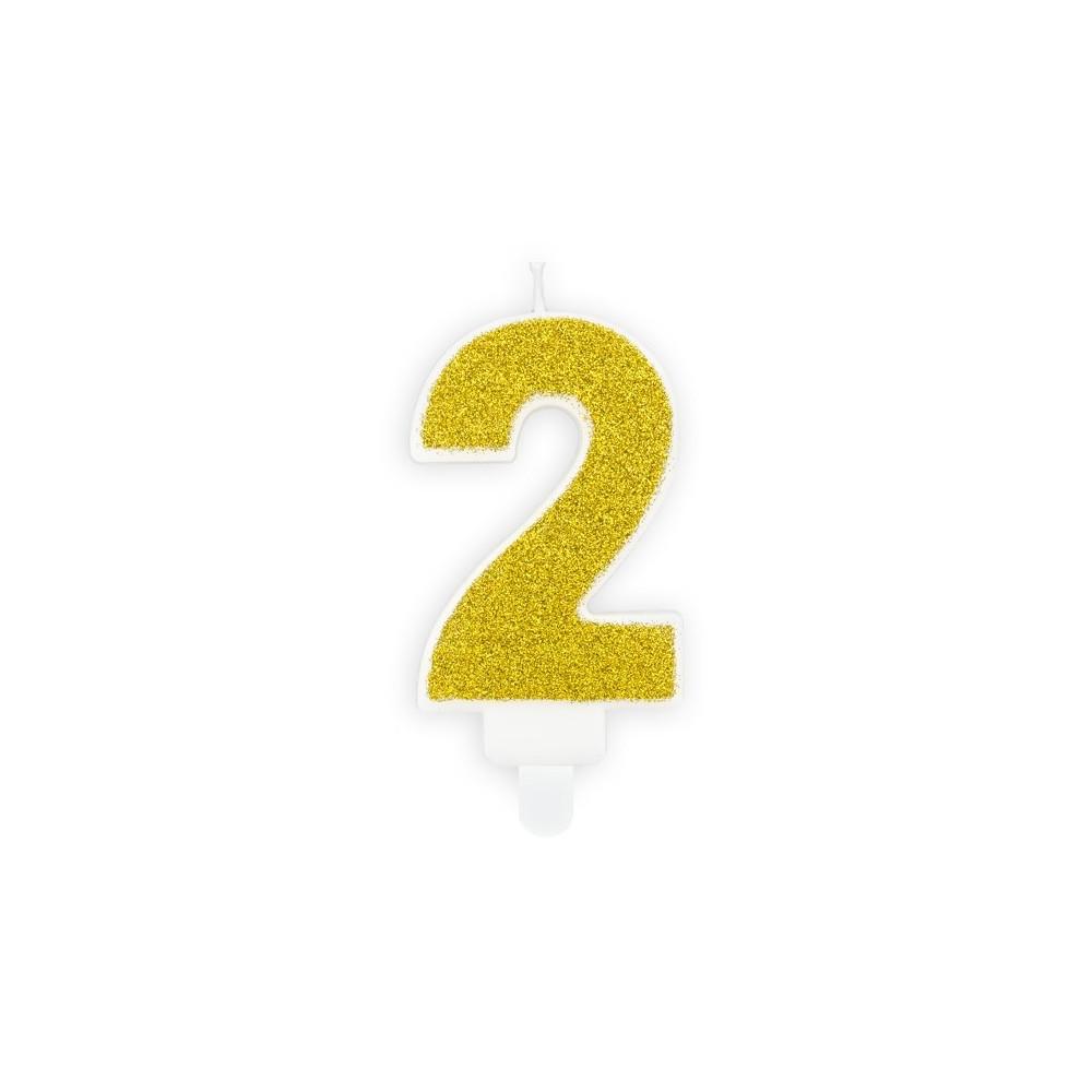 Narozeninová svíčka zlatá - číslo - 2