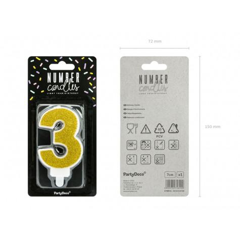 Narozeninová svíčka zlatá - číslo - 3