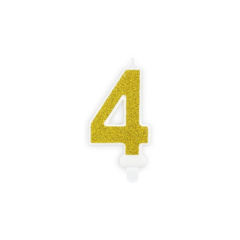 Narozeninová svíčka zlatá - číslo - 4