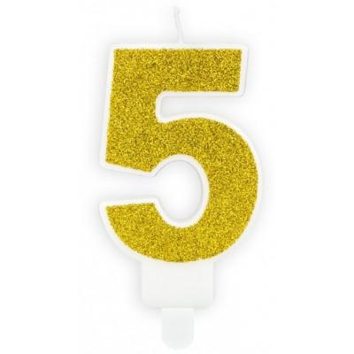 Narozeninová svíčka zlatá - číslo - 5