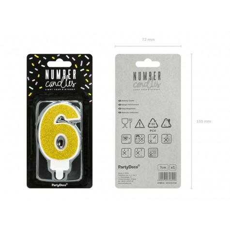 Narozeninová svíčka zlatá - číslo - 6