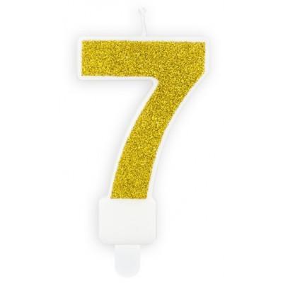 Narozeninová svíčka zlatá - číslo - 7