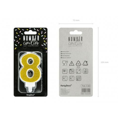 Narozeninová svíčka zlatá - číslo - 8