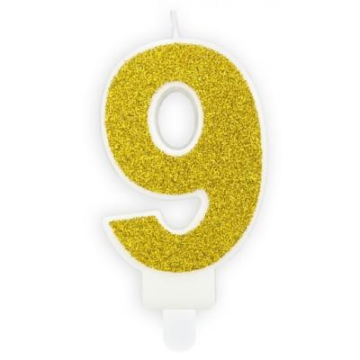 Narozeninová svíčka zlatá - číslo - 9
