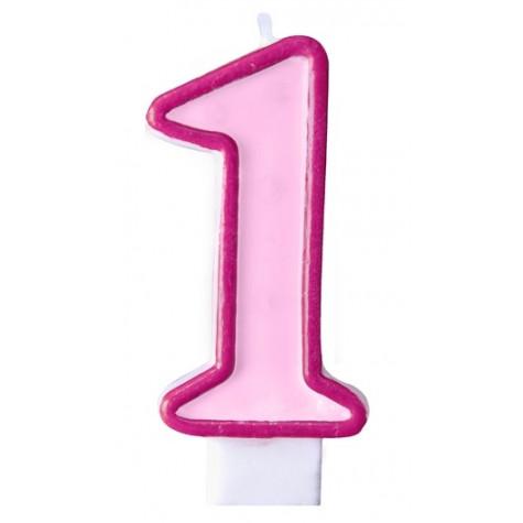 Narozeninová svíčka číslo 1 - růžová