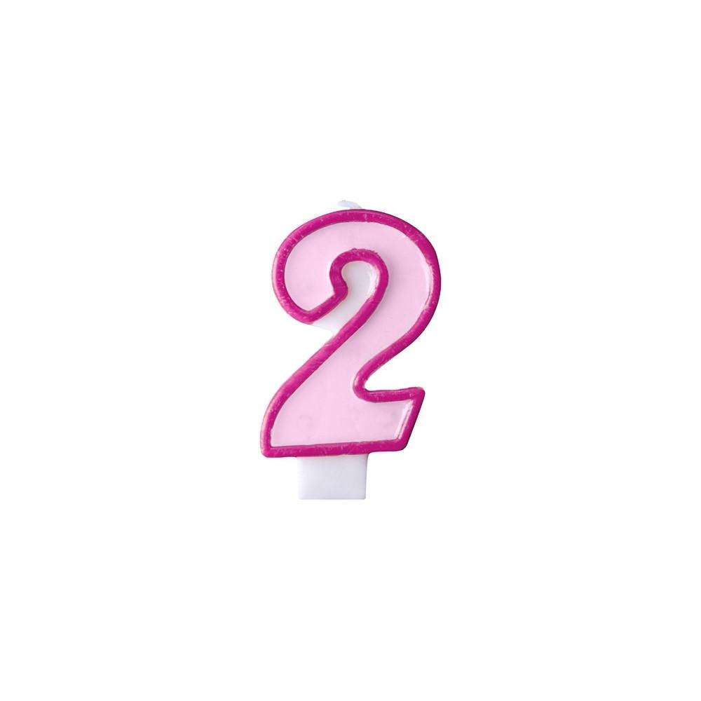 Narozeninová svíčka číslo 2 - růžová