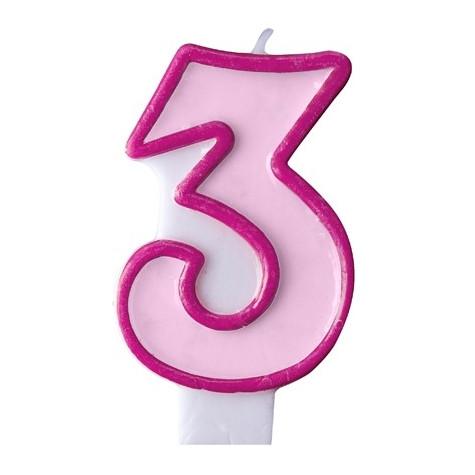 Narozeninová svíčka číslo 3 - růžová