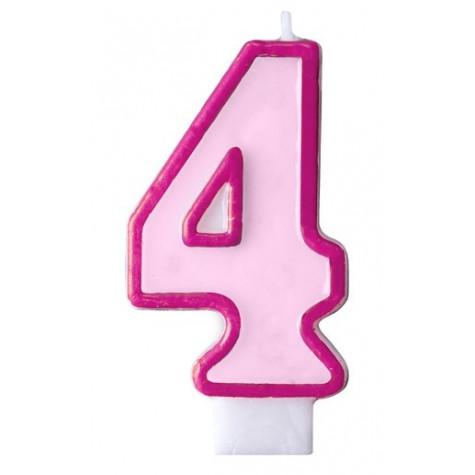 Narozeninová svíčka číslo 4 - růžová