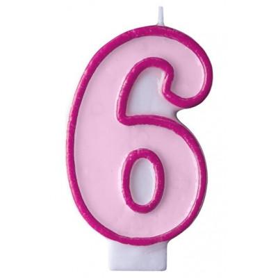 Narozeninová svíčka číslo 6 - růžová