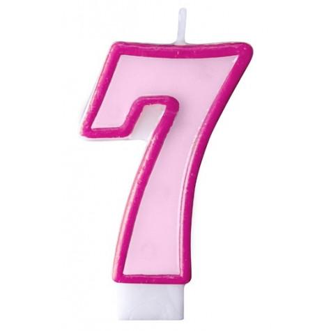 Narozeninová svíčka číslo 7 - růžová