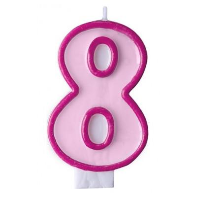 Narozeninová svíčka číslo 8 - růžová