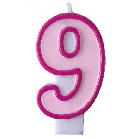 Narozeninová svíčka číslo 9 - růžová