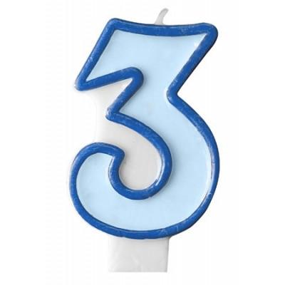Narozeninová svíčka číslo 3 - modrá