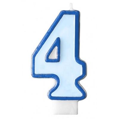 Narozeninová svíčka číslo 4 - modrá