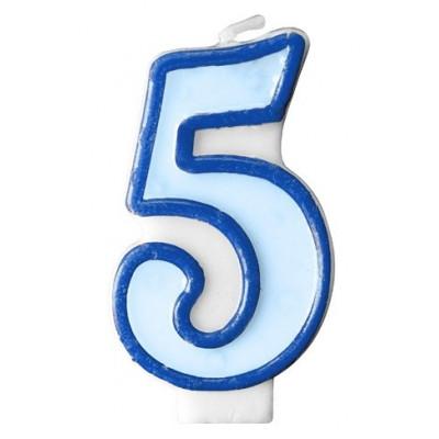 Narozeninová svíčka číslo 5 - modrá